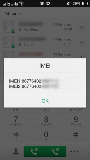 Check imei Oppo F1s bước 3