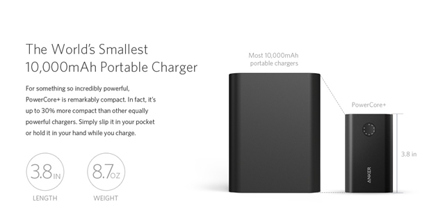 Pin dự phòng Anker PowerCore+ 10050 hỗ trợ Quick Charge 2.0