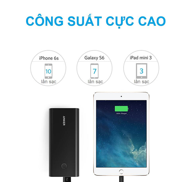 Pin dự phòng Anker PowerCore+ 26800 hỗ trợ Quick Charge 3.0